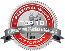 top 10 personal injury attorney badge